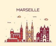 Marseille skyline silhouette linear style vector. Marseille skyline detailed silhouette Trendy vector illustration linear style Stock Photos