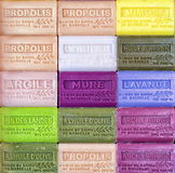 Marseille soap. Colorful hand made olive oil Marseille soap bars royalty free stock photography