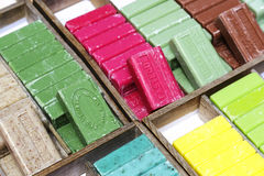 Marseille soap on stand put up for sale in Nice Royalty Free Stock Photo