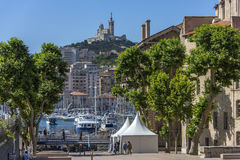 Marseille - South of France. The city of Marseille in the South of France, with the Cathedral de Notre-Dame-de-la-Garde high on a hill overlooking the city Stock Photography