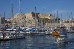 Marseille - South of France. Marseille Castle above the yachts in the harbor of the Port of Marseille on the Cote d'Azur in the South of France Stock Photo