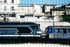 Marseille train. A train in marseille, shot through a mesh fence in the forground, then filtered stock photo