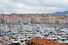 Marseille, vieux port on a cloudy day Stock Image