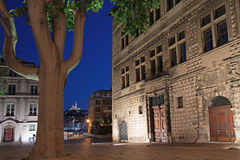 Marseilles center by night Royalty Free Stock Photos