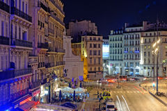 Marseilles city at night. Scenic view of illuminated streets and buildings in Marseilles city at night, France Stock Image