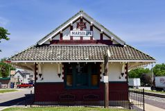 Marseilles Depot. This is a Spring picture of the Chicago, Rock Island, and Pacific Railroad Depot located in Marseilles, Illinois in LaSalle County. This Depot Stock Images