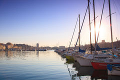 Marseilles. France beach sun sand port boat Royalty Free Stock Images