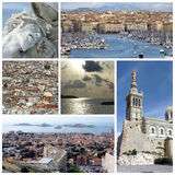 Marseilles, France, collage. Marseilles, France, pictures with Notre-Dame-de-la-Garde, view of the city, Jesus sculpture and the old port collage Stock Photos