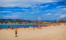 Marseilles-Bonneveine Beach Holidaymakers royalty free stock images