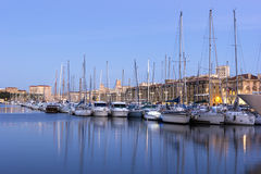 Marseilles, France. View on Old Port in Marseilles in France in the evening Royalty Free Stock Images