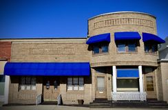 Marseilles Masonic Lodge Building. This is a Winter picture of the iconic Masonic Lodge Building located in Marseilles, Illinois in LaSalle County.  This two Stock Photo