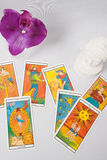 Marseilles Tarot Decks and orchid. A Marseilles Tarot Decks and orchid stock image