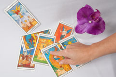Marseilles Tarot Decks and orchid. Mystic Marseilles Tarot Decks and orchid royalty free stock photo