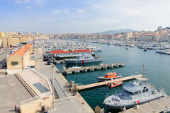 Marseilles Vieux Port. View of the Vieux Port (the old port) area in Marseilles, France Royalty Free Stock Images