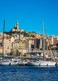 marseilles Wodny teren Stary port jachty, łodzie motorowa i łodzie rybackie -,  obraz royalty free