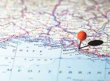 Marsella fijó en el mapa de ruta Fotografía de archivo