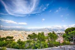 Marsella, Francia: Visión panorámica aérea desde la basílica de Notre Dame de la Garde foto de archivo libre de regalías