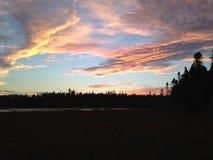 marsh över solnedgång Arkivfoto