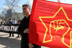 Marsh anti-capitalism-2011 in Moscow. Royalty Free Stock Photos