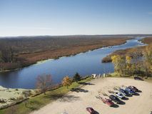 Marsh an Boat Landing and Trucks Royalty Free Stock Images