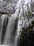 Marsh Fork Falls, Twin Falls State Park, WV #3. December 2005 - Snow storm photograph of this hidden waterfall in south/central West Virgina. This gem of a Stock Photos