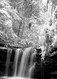 Marsh Fork Falls, Twin Falls State Park, WV B&W #2. December 2005 - Snow storm photograph of this hidden waterfall in south/central West Virgina. This gem of a Royalty Free Stock Photo