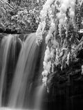 Marsh Fork Falls, Twin Falls State Park, WV B&W #3. December 2005 - Snow storm photograph of this hidden waterfall in south/central West Virgina. This gem of a Royalty Free Stock Photography