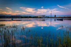 Marsh grasses at twilight on the Folly River, in Folly Beach, So Stock Photos