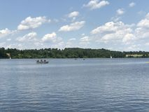 Marsh Lake in Pennsylvania. Sailing on a sunny Royalty Free Stock Photo