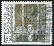 Marsh Princess by John Bauer. SWEDEN - CIRCA 1982: stamp printed by Sweden, shows Marsh Princess by John Bauer, circa 1982 Royalty Free Stock Photos