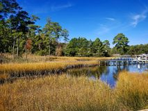 Marsh with residential dock stock photos