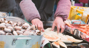 Marsh snail ,South Korean Street Food Royalty Free Stock Photo