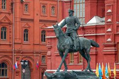 Marshal Zhukov. A statue of marshal Zhukov in front of History Museum in Moscow. Russia Royalty Free Stock Photo