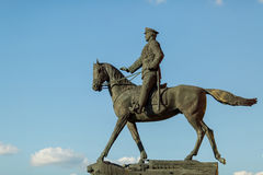 Marshal Zhukov on horseback. Sculpture, Marshal Zhukov on horseback, in the center of Moscow Stock Photos