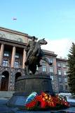 Marshal Zhukov monument. Equestrian monument to marshal Georgy Zhukov, Ekaterinburg Royalty Free Stock Photo