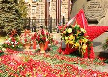 Marshal Zhukov monument. Flowers on Equestrian monument to marshal Georgy Zhukov, Ekaterinburg, Victory Day Royalty Free Stock Image
