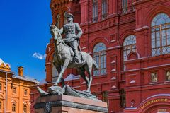 Marshal Zhukov monument in Moscow. Marshal Zhukov monument in front of  State Historical Museum in Moscow, Russia Royalty Free Stock Image
