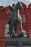 Marshal Zhukov Monument in Moscow Stock Images
