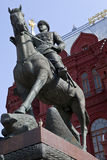 Marshal Zhukov Monument in Moscow Stock Photos
