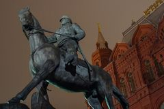 Marshal Zhukov Monument. Moscow, Russia - Dec 13, 2017: Marshal Zhukov Monument. The statue of the Soviet military leader during the WW2. `Marshal of the Victory Royalty Free Stock Photo