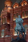 Marshal Zhukov monument. MOSCOW, RUSSIA - 20 DECEMBER 2017 Zhukov monument and Historical theater Royalty Free Stock Photography