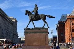 Marshal Zhukov Monument, Moscow, Russia stock photos