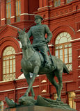 Marshal Zhukov's statue. Statue of marshal zhukov with History Museum on the background at Red Square in Moscow, Russia royalty free stock images