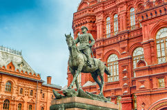 Marshal Zhukov statue outside the State Historical Museum, Mosco Stock Photography