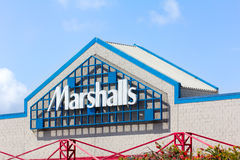 Marshall Department Store exterior. SEASIDE, CA/USA - MARCH 27, 2014:  Marshall Department Store exterior.  Marshalls, Inc. is a chain of 750 American Stock Photo