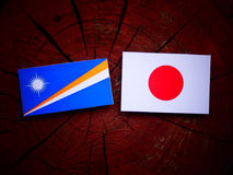 Marshall Islands flag with Japanese flag on a tree stump isolated Royalty Free Stock Images