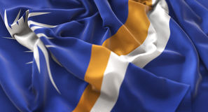 Marshall Islands Flag Ruffled Beautifully Waving Macro Close-Up Stock Photography