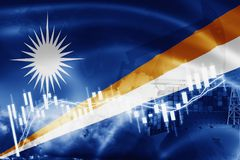 Marshall Islands flag, stock market, exchange economy and Trade, oil production, container ship in export and import business and. Logistics, micronesia vector illustration