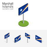 Marshall Islands flag, vector 3D isometric flat icons Stock Photo