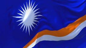 252 Marshall Islands Flag Waving en fondo inconsútil continuo del lazo del viento ilustración del vector
